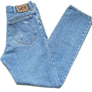 Lee Vintage Stone Wash Distressed High Rise Jeans
